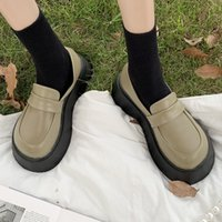 Dress Shoes Rimocy of the chunky women moccasins fall toe round foot shoes woman platform mouth slide in student female I8FG