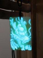 Дракон рельефной кулон ожерелье светящиеся в темном камне ручной клавиш длинный китайский талисман амулет повезло для мужчин ожерелья