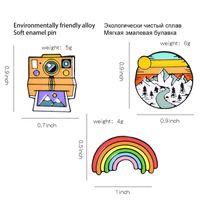 tape Rainbow sunset Mountains retro polaroid camera film creative brooch cartoon pin pendant fixed clothes bag