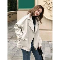 Women's Jackets 2021 Spring And Autumn Jacket Korean Casual Fashion Loose Thin Leather Motorcycle