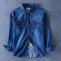 Men's Casual Shirts Men Denim Thin Mens Shirt Spring Autumn Long Sleeve Soft 100% Cotton Two Pockets Slim Slight Elastic Jeans Cowboy 4XL St