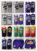 "Mens Utah ""Jazz"" Jersey John 12 Stockton Karl 32 Malone Donovan 45 Mitchell Basquete Jerseys Basquetebol Shorts Roxo Branco"