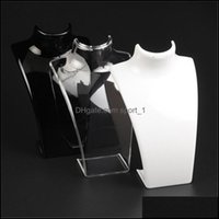 Packaging & Jewelry Fashion Acrylic Jewelry Display 20*13.5*7.3Cm Pendant Necklaces Model Stand Holder White Clear Black Color 171 U2 Drop D