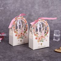 Gift Box Packaging Wedding Sweet Candy Bride & Groom Flower Small Boxes Thank You Box for Guest Wedding Favors Party Supplies 210402