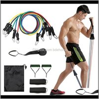 Equipments Supplies Sports & Outdoors Drop Delivery 2021 11Pcs Set Pull Rope Gym Equipment Fitness Exercises Resistance Bands Latex Tubes Ped