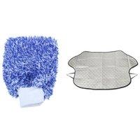 PCs macio carro limpeza luva luvas de lavagem máxima absorvância 1 definir a capa de inverno à prova d'água do pára-brisa
