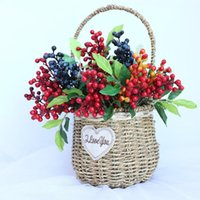 Mini Short Cherry Artificial Berry Decorative DIY Christmas Wedding Decoration Fake Plant Fruit Home Decor Flower Arrangement Flowers & Wrea