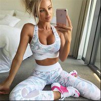 camouflag Fitness Clothing Suit Two Womens Tracksuits Piece Sportswear Vest Pants Suits Crop Top Skinny mesh Legging Tracksuit