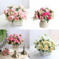1 bouquet 5 têtes artificielles pivoine thé rose fleurs camellia de soie fausse fleur pour bricolage maison jardin de mariage décoration de mariage FWD9132