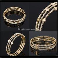 Jewelry Drop Delivery 2021 Rhinestone Bracelet Woman Full Diamond Love Heart Handmade Three Rows Cuff Bracelets Plated Gold Bangle Wjl1466 X4