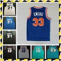 Stokta Retro Basketbol Formaları Garnett 33 Hill Ason Stockton 32 Karl Malone Jason Williams Ewing 33 Gary Payton Kemp Barkley Jersey