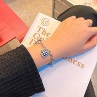 Link, Chain 2021 Winter Stainless Steel Chessboard Bracelet Heart Charm Women Friendship Jewelry Year Gift