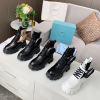 Höst Vinter Martin Stövlar Designer Kvinna Tjock Soled Travel Lace-up Boot 100% Mjukt Cowhide Lady Platform Casual Sko Läder med Väska Hög Top Kvinnor Skor Storlek 35-40-41