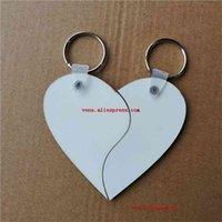 Sublimação em branco MDF Chaveiros Dois Formas Coração Chave Anel de Transferência Hot Impressão DIY Materiais DIY 15 pcs / lote 210409