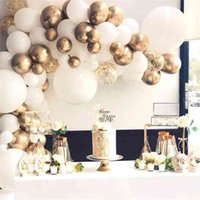 85Pcs White and Chrome Gold Balloon Garland Arch Kit Wedding Birthday Bachelorette Engagements Anniversary Party Backdrop DIY 210626