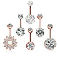 316L Surgical Steel Navel Rings for Women Girls Zircon Belly Button Ring Body Piercing Jewelry Set