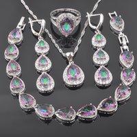 2021 الفضة لون مجوهرات مجموعات قطرة الماء rainbow زركونيا سوار مجموعة للنساء أقراط خواتم قلادة أفضل هدية QS0570