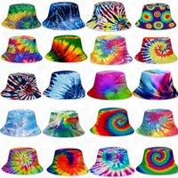 fashion gradient Tie-dye bucket hat Summer caps unisex Visor flat top sunhat outdoor hip-hop Fisher cap adults kids beach sun hats