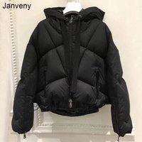 Janveny Lold Beveribed обрезанный фугушка перо куртка женская мода зима короткая 90% белая утка вниз пальто с капюшоном женское оружие