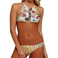 Mujeres Floral Binkins Beach Dos piezas Traje de baño Mujer Sexy Halter Cuello Tanque Surf Surf Life Femenino Traje de baño Ropa de verano