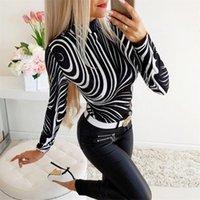 Designer Tshirt Fashionable Slim Printing Stand Collar Long Sleeve Skinny Tees Casual Womens Clothing 2020 Spring Women