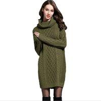 Yocalor Hiver Crochet Pull Robe Pull Plus Taille Spring Femmes manches longues Turtleneck noir robe tricotée noire robes pour l'hiver