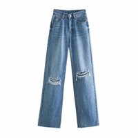 BBWM Donna Jeans Vita alta Vestiti Denim Abbigliamento Blu Streetwear Vintage Qualità 2021 Fashion Hole Harajuku Pantaloni dritti