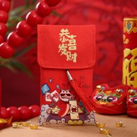Estilo chino Festival de primavera Sobre rojo bordado festivo regalo de gama alta satinado tela de satén billetera boda carteras