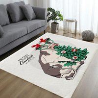 Carpets Cartoon 3D Cattle Print For Living Room Bedroom Area Rugs Animal Kids Play Mat Soft Flannel Christmas Hat Carpet