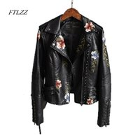 Ftlzz Women Print Embroidery Floral Faux Soft Leather Jacket Coat Turn-down Collar Casual Pu Motorcycle Black Punk Outerwear