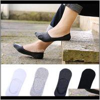 Mens Underwear Apparel Drop Delivery 2021 Wholesale- 3 Pairs Lot Invisible Unisex Low Cut Ankle Socks Men Male Casual Soft Cotton Non-Slip Si