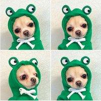 Cute Pet Dog Apparel Hoodie Frog Clothes Solid Color Jacket Coat Bowtie Hooded Puppy Sweatshirt For Cat Teddy Corgi