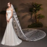 Bridal Veils Handmade 3M Lace Edge White Church Wedding Veil Long One-layer Women Ivory Cathedral Accessoires Mariage For Bride