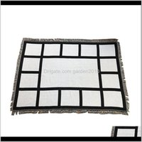 9 Penels Sublimation Blank Blanket With Tassels Black White Heat Transfer Printing Shawl Wrap Sofa Sleeping Throw Blankets For 1Cy M5Bap