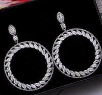 Fashion Hollow Drop Hoop earring 5A zircon CZ Diamond 925 Sterling Silver Engagement Wedding Dangle Earrings for women Bridal jewelry Gift