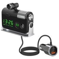 Bluetooth 5.0 kit auto vivavoce trasmettitore FM trasmettitore AUX AUX PLAYER A2DP wireless MP3 QC3.0 12V Dual USB caricabatterie