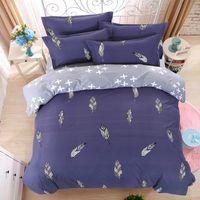 Wholesale -Lucky Textile Bedding Set Feather King Size Blue Duvet Cover Bed Sheet Queen Full Size Modren Bedding Adult Grid Stripe Bed Set