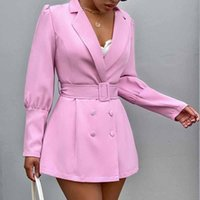 Long Sleeve Slim Blazer Dress Autumn Winter Women Fashion Solid Color Streetwear Outfits Windbreak Women's Suits & Blazers