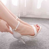 Crystal Queen Bride Wedding Shoes Fashion White Woman Ankle Strap Party Dress Sandals Open Toe High Heels Pumps Female 210910