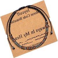 Pulseiras de código Morse Handmade em meu coração amante amante bracelete para mulheres homens bff charme cadeia jóias promessa presentes 3029 Q2