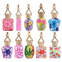 Colorful 10ml Roll On Perfume Bottles Polymer Clay Empty Glass Roller Vials Refillable Thick Essential Oil Bottle Car Air Freshener