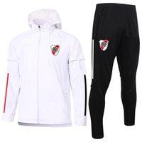 2021 River Plate Soccer Venerbreaker Mens Tracksuits Kit Kit Zipper Jackette con cappuccio Pantaloni Set Set di allenamento sportivo Abiti adulti Giacca da calcio Adulti Trench sportswear