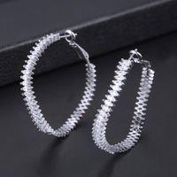 Hoop & Huggie Kellybola Fashion Curving Geometric Hoops Circle Earrings For Women Cubic Zirconia Jewelry Pendientes Mujer Moda