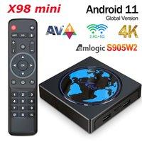 X98 Mini 2GB 16GB Smart TV Box Android 11 X98Mini Amlogic S905W2 Quad Core 2.4G 5G Wifi 100M 4K 60fps Media Player