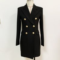 Рабочие платья Высочайшее качество Оригинальный дизайн женские костюма платье металлические пряжки с двубортными стройными тонками SLIM стиль обратно молния черный карьерный костюм yeyp