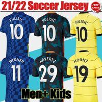 # 9 Lukaku # 10 Pulisic Home Blue Soccer Jerseys 2021/2022 # 11 Werner # 19 Mount Men Vuxen Away Yellow Soccer Shirts 21/22 # 7 Kante # 29 Havertz 3: e Fotboll Uniform Kids Kit