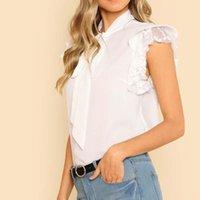 Summer Women Shirt Sleeveless Chiffon Vest Tie Neck Lace Ruffles Blouse Casual Tops 88 Women's Blouses & Shirts