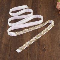 AMORARSI S421-G Simplicity Gold Bride Belt Rhinestone Crystal Wedding Dress Accessories Woman Prom Clothes Jewelry Decoration