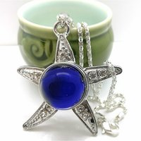 Mood Necklaces Star Pendant Necklace Temperature Control Color Change Necklace Stainless Steel Chain Jewelry Women