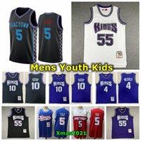 Retro Mens Juventude Kids Mitchell Ness 1998-99 Jersey costurado 10 Mike Bibby 4 Chris Webber Jason 55 Williams De'aaron 5 Fox Basquetebol Jersey